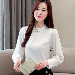 2019 Hot sale Naviu high quality new fashion long sleeve chiffon blouse plus size blusas mujer white s