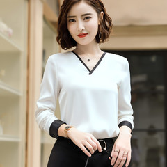 Temperament V Neck shirt women High quality chiffon long sleeve blouse office formal Loose tops white s