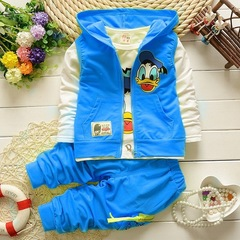 Boys Clothes Suits Donald Duck Baby Kids Boys Outerwear Hoodie Jacket Boys Clothing Sets Suits blue 90cm/2T