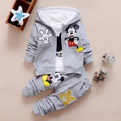 Chidren Kids Boys Clothing Set 3 Piece Sets Hooded Coat Suits Fall Cotton Baby Boys Clothes Mickey grey 80cm/18M