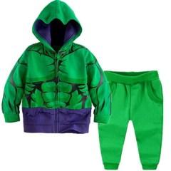 Children's Clothing Set Baby Boys Super Hero Captain America Boy's Hoodies Coats + Pants Kids Suit green 100cm/3t
