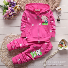 Baby Girls Clothes Set Hello Kitty Casual Sport Hoodied Suit Children Cardigan Sweaters+Pant Set rose red 80cm/18m