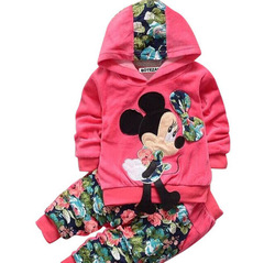 Toddler Girl Clothing Velvet Suits Girls Clothes Set Long Sleeve Hoodies+Flower Pants Kids Clothes rose red 80cm/18m