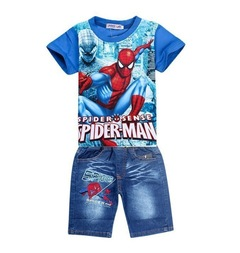 Spiderman kids clothing sets cartoon children summer shirt jeans shorts set, toddler boys clothing blue 100cm/3t