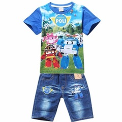 Summer Children Boys Clothing Sets Kids Suits Shirt Jeans Shorts Pants Cotton Cartoon Clothes Set blue 100cm/3t
