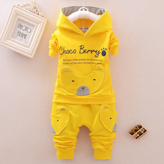 Fashion Children Boys Girl Cartoon Clothing Suits Baby Cotton Hoodies Pants 2Pcs/Sets Spring Clothes yellow 80cm/18m