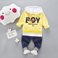 Kid Clothes Sets Cotton Sports Hooded Mickey T Shirt Sweatshirt + Pants Children Boys Kids Suits yellow 80cm/18m