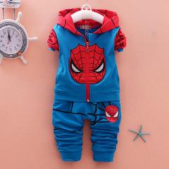 Autumn Tracksuit Sports Suits Kids Clothes Spiderman Hoodies Sweatshirt Boys Cartoon Clothing Sets blue 80cm/12m