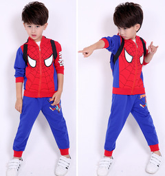 Cotton Sport Suit For Boys Clothes Spring Spider Man Cosplay Costumes KIds Clothes Set blue 110cm/3t