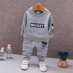Autumn Boys Clothing Sets Mickey Baby Cotton Sweatershirt T Shirt and Pants Suits Kids Clothes Sets grey 80cm/12m