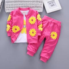 Girls Cotton Sport Suit Kids Clothes Children Kids Flowers Hoodies Jacket Trousers Pant Clothing Set rose red 80cm/18m