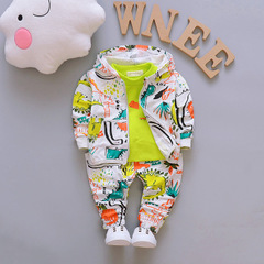 Outfits Baby Clothes Sets Cute Infant Sport Suits Hooded Zipper Jacket T Shirt Pants green 80cm/12m