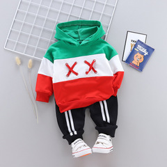 Boys Clothing Set Baby Kids Sets Cotton Boy Tracksuits Kids Clothes Striped Hooded Sweater+Pants green 80cm/12m