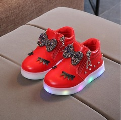 Hot Sale Children Glowing Shoes Kids Princess Girls Led Shoes Spring Autumn Cute Baby Sneakers Shoes red 21
