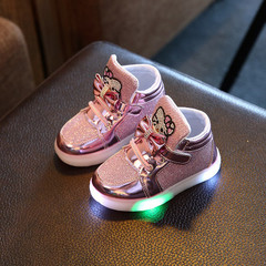 Children Shoes New Spring Hello Kitty Rhinestone Led Shoes Girls Princess Cute Shoes With Light pink 21