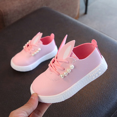 2019 Hot children toddler girls cute pearl rabbit ear casual shoes for little girls kids sneakers pink 21