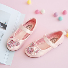 Spring Kids princess Leather Shoes For Girls Children Girl Wedding Shoe Gold Black Crown Sequins pink 26