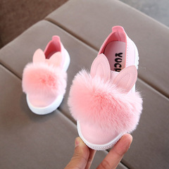kids shoes for girl leather Cute toddlers baby girls rabbit ear pompom shoes for children kids shoes pink 21