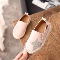 2019 Autumn Rhinestone Star Baby Girls Casual Shoes Boys Loafers Shoes Kids Moccasins Shoes pink 21