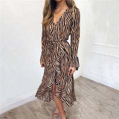 Women Zebra Print Beach Chiffon Dress Casual Long Sleeve V Neck Ruffles Elegant Party Dress Vestidos s khaki