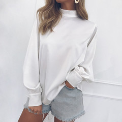 Women Blouses Long Puff Sleeve Blouse Shirt Solid Elegant White Office Lady Shirt Casual Tops Blusas white s