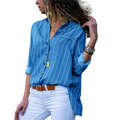 Blouse Women Striped Chiffon Blouse Long Sleeve Turn Down Collar Office Shirt Loose Tops Blouses blue s