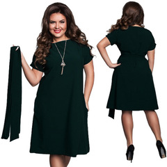 2019 Elegant Casual Women Plus Size Dresses Women's Summer Sashes O-Neck Bodycon Chiffon Party Dress l green