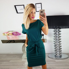 Women Vintage Knee-Length dresses O-neck Short Sleeve dress Lady Casual Elegant Party Pencil dress s green