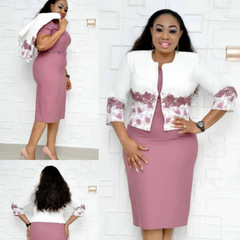 Summer african skirt suits Dashiki for women elegant lady skirt set femme Bazin Riche cotton set 5xl pink