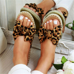 2019 Womans Slip On Sandals Bow Flat Mule Leopard Linen Hemp Summer Sliders Espadrille Shoes leopard 43