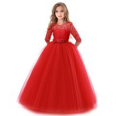 Kids Flower Girls Wedding Dress For Girl Party Dresses Lace Princess Summer Children Princess Dress red 130cm