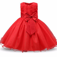 Princess Flower Girl Dress Summer Tutu Wedding Birthday Party Dresses For Girls Children's Costume red 70cm(3-6m)