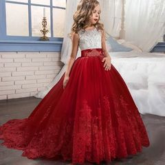 Girl Dress Bridesmaid Pageant Gown Dress Girl Kids Dresses for Girls Teenager Party Wedding Clothes red 130cm(6-7t)