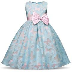Summer Toddler Girl Dresses For Girl Wear Children Wedding Holiday Clothing Kids Party Dresses blue 110cm/4t