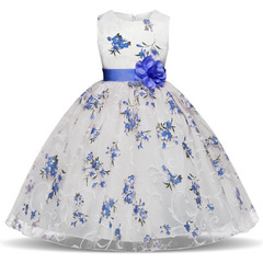 Girl Dresses For Little Girl School Wear Children Wedding And Holiday Clothing Kids Party Dresses blue 110cm/4t