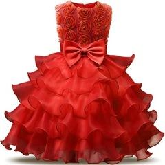 Flower Girl Dress For Wedding Baby Girl Birthday Outfits Children's Girls Dresses Girl Party Wear red 70cm(3-6m)