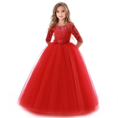 Flower Girl Dresses Gown Lace Sleeveless Long Wedding Pageant First Communion Dress for Big Girls red 130cm(6-7t)