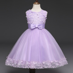 Summer Flower Dress Girl Princess Costume Dresses Girl Party Wear Tulle Kids Vestido Formal Dress purple 110cm/4t