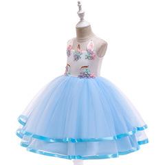Flower Dress Girl Princess Costume Dresses Girl Party Kids Children Prom Gown Vestido Formal Dress blue 110cm/4t