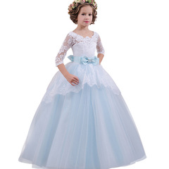 Girls Long Flower Party Ball Gown Prom Dresses For Girl Kids Princess Wedding Teenagers Dress blue 130cm(6t)