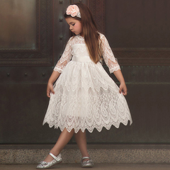 Girl Lace Dress Tulle Princess Girl Party Dress Casual Wear Tutu Baby Children Clothing Kids Dresses white 100cm/3t