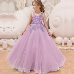 Kids Dresses for Girls Children Girl Party Flower Wedding Formal Dress Princess Dress Girl Clothes purple 130cm(6t)