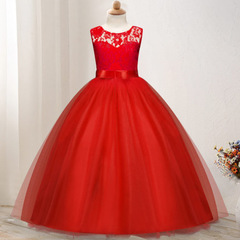 Flower Girl Dress Princess Pageant Formal Party Dresses Sleeveless Wedding Party Christmas Clothes red 120cm/5t