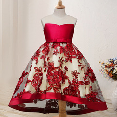 Girl Party Dress Christmas Flower Girls Dresses Birthday Wedding Gown Embroidery Lace Kids Clothes red 110cm/4t