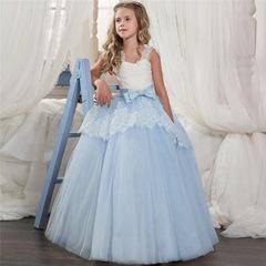 Kids Dresses For Girls Elegant Princess Wedding Dress Clothes For Kids Long Christmas Party Clothing blue 130cm(6t)