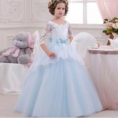 Kids Dresses For Girls Elegant Princess Wedding Dress Clothes For Kids Long Christmas Clothing blue 130cm(6t)