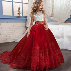 Princess Lace Flower Dress For Girls Wedding Tulle Long Girl Party Dress Teenage Christmas Dress red 130cm(6t)