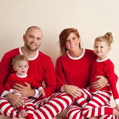 Striped Christmas Family Pajamas Pyjamas Set Family Look Matching Navidad Family Matching Clothes red white Father S