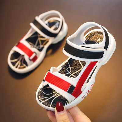 Children's sandals boys open toe small white shoes fashion girls shoes soft bottom beach shoes white red 24