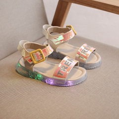 Summer Led Light Shoes Children Sandals Girls Sandals Kids Baby Luminous Shoes Sneakers Sandals red 23
